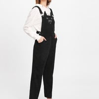 Cat Embroidered Cord Overalls