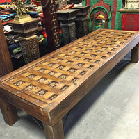Indian Style Table Rustic Solid Wood Floral Carved Long Coffee Table Handcrafted Indian Furniture
