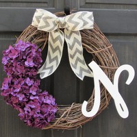 Purple Hydrangea Wreath with Monogram, Personalized Halloween Wreath, Fall Grapevine Wreath with Initial