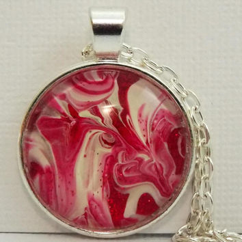 "Necklace, FREE SHIPPING , Gift for Women, Men, Gift Idea, Handmade, Jewelry, ""Peppermint"", Red, White, One of a Kind, Hand Painted"