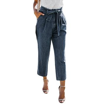 High Waist Ripped Jeans Of Women Spring Pants Capris Hight WaistLoose Bow Bandage Hole Stretch Jeans Pants Female