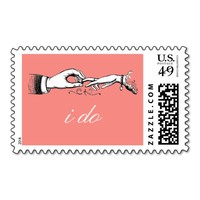 I Do Vintage Coral Wedding Ring Stamp