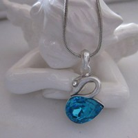SWAN Necklace with Blue Crystal - Silver pl.
