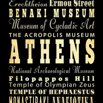 Athens, Greece, Typography Art Poster / Bus/ Transit / Subway Roll Art 18X24-Athens' Attractions Wall Art Decoration-LHA-230