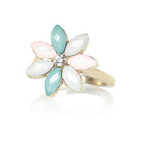 River Island Womens Gold tone pastel flower statement ring