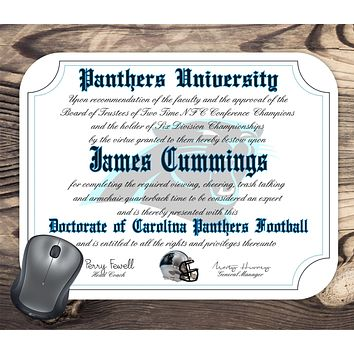 Carolina Panthers Ultimate Football Fan Personalized Diploma Mouse Pad