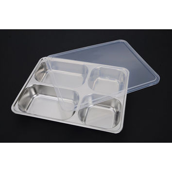 Deepen thick stainless steel plate snack square stainless steel sub-grid covered five grid fourfold rice dish lunch boxes free shipping 4 Grid + Plastic lid