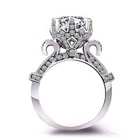 Extravagant Sterling Silver 1 Carat Crown Set CZ Solitaire Engagement Ring for Women