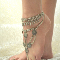 Gypsy coin ankle bracelet, Coin Anklet, Bohemian festival jewelry, Hippie chic boho beach jewelry, Coachella Anklet, True rebel clothing