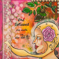 """Inspirational art print of woman, motivational quote """"She believed she could"""", wall art giclée print of original collage painting, 12"""" x 12"""""""