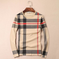 The new autumn 2016 British wind Men long sleeve T-shirt high quality of men's plaid style long-sleeved T-shirt M - 4 xl