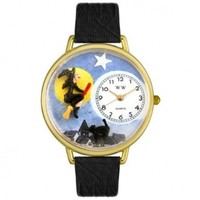 Whimsical Watches Unisex G1220001 Halloween Flying Witch Black Leather Watch