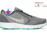 Crystal Bedazzled Gray Teal Nike Revolution 3 Womens