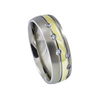Mens Titanium gold plated wedding or anniversary band