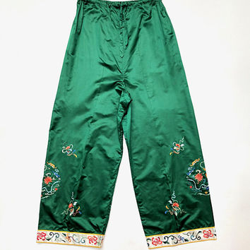 Vintage 1930s Emerald green, silk satin lounge pants with drawstring waist and colourful oriental hem embroidery