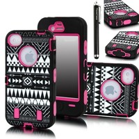 iphone 4 case ,case for iphone 4 ,iphone 4 hard case,Thinkcase(TM) Tribal Pattern Tribal Design Combo Hard Soft High Impact iPhone 4 6S Armor Case Skin Gel Green