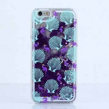 Cascading Glitter Seahorse and Shell Case for iPhone 7, 7 Plus