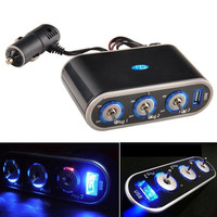 3 Way Car Cigarette Lighter Socket Splitter 12V/24V USB Charger And Triple Socket With LED Light SV003430|26601 (Color: Black) = 1745537540