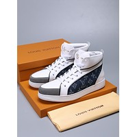 LV Louis Vuitton Men's Leather High Top Sneakers Shoes