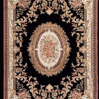 2117 Black Aubusson Traditional Area Rugs