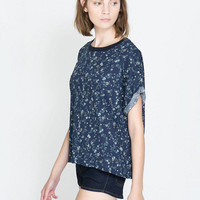 Blue Floral Short Sleeve T-Shirt