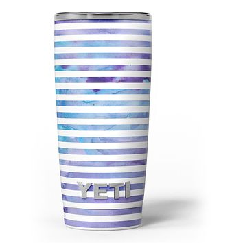 White Horizontal Stripes Over Purple and Blue Clouds - Skin Decal Vinyl Wrap Kit compatible with the Yeti Rambler Cooler Tumbler Cups