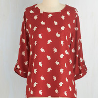 Critters Mid-length 3 Zoom Bisou Top in Red Elephants