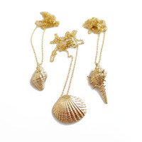Gold Seashell Necklace, Nautical Necklace, Beach Jewelry, 3D Shell Necklace