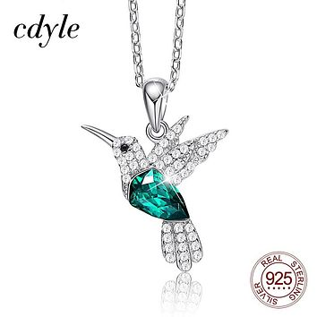 Cdyle Hummingbird Jewelry 925 Sterling Silver Link Chain Necklace Embellished with Crystal from Swarovski Women Pendant