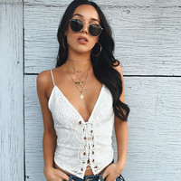 Sexy Hot Bralette Stylish Summer Beach Comfortable Spaghetti Strap Bra Lace V-neck Patchwork Vest [11735058383]