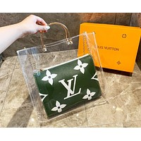 Louis Vuitton LV Popular Women Leather Transparent Handbag Shoulder Bag Crossbody Satchel Green