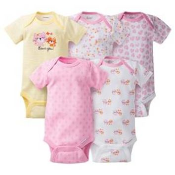 Gerber® Baby Girls' 5pk Kitty Onesuits® - Pink