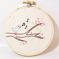 Song Bird on a Branch Small Wall Art Embroidery Hoop 4 inch pink flowers springtime