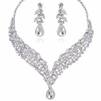 Water Drop Bridal Necklace Earrings Set For Wedding Bridesmaid