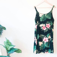 FLORAL Print- Bohemian Dress- Monstera Leaf- Hipster Style- Women's. XL~ Grunge Style~ Boho Dress~ Floral Pattern Fabric- Summer Shift