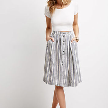 Life in Progress Pleated Multi-Stripe Skirt