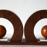 French art Deco WOOD STONE and GLAS Bookends