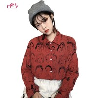 2018 Korean Street Fashion Women Shirts Japanese Harajuku Vintage Cartoon Print Leisure Blouses Funny Graphic Loose Female Tops