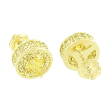 Solitaire Earrings Canary Lab Diamond Micro Pave 14K Yellow Gold Finish Screw On