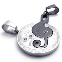 KONOV 2pcs Mens Womens Couples Music Stainless Steel Pendant Love Necklace, 18 & 22 inch Chain, Black