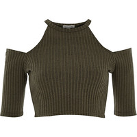 River Island Womens Khaki ribbed cold shoulder top
