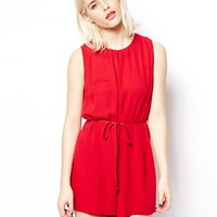 ASOS Shift Playsuit In Cheese Cloth