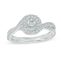 1/3 CT. T.W. Diamond Double Swirl Frame Engagement Ring in 10K White Gold|Zales