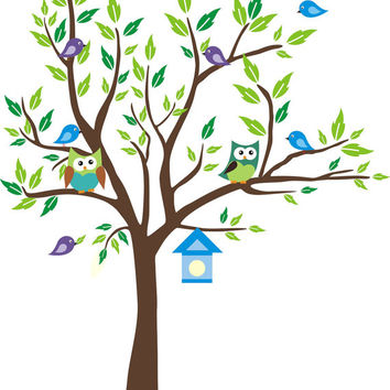 """Forest Tree Wall Decals, Nursery Wall Decals, Blue Toned Colors, Blue Birdhouse Decal, Woodland Animal Wall Mural for Nursery - 80"""" x 58"""""""
