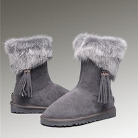 Latest UGG Fox Fur Short Boots 2894 Grey Popular