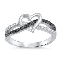 Black Infinity Love Knot Heart Cz Sterling Silver Promise Ring