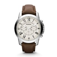 Fossil Grant Chronograph Leather Watch in Brown and Silver FS4735