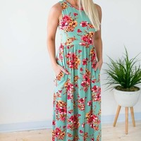 You're So Classic Sage Floral Maxi Dress