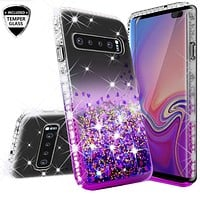 Samsung Galaxy S10 Plus Case, Galaxy S10+ Case Liquid Glitter Phone Case Waterfall Floating Quicksand Bling Sparkle Cute Protective Girls Women Cover for Galaxy S10 Plus - Purple