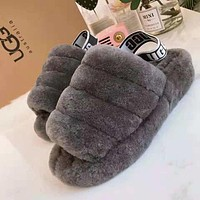 UGG Hight Quality Girls Fur Flats Sandals Slipper Shoes